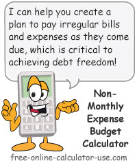 Calcy sign introducing Non-Monthly Expense Budget Calculator