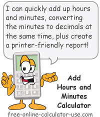 Add Hours Minutes Calculator Sign