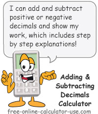 Adding and Subtracting Decimals Calculator Sign
