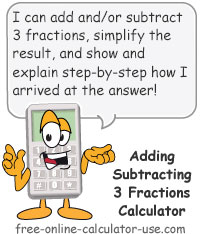 Add or Subtract 3 Fractions Calculator Sign