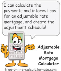 adjustable rate mortgage payment calculator with schedule