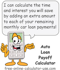 Calcy sign introducing Auto Loan Payoff Calculator