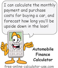 Calcy sign introducing Automobile Finance Calculator