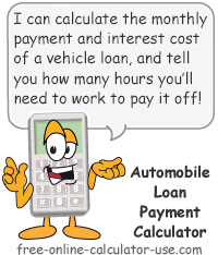 Calcy sign introducing Automobile Loan Payment Calculator
