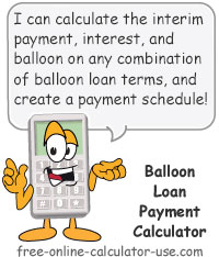Calcy sign introducing Balloon Loan Payment Calculator