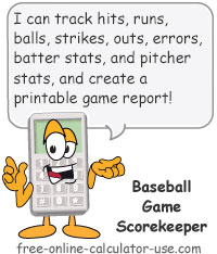 Calcy sign introducing Baseball Scorekeeper