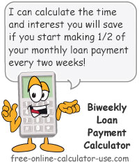 Calcy sign introducing Biweekly Loan Payment Calculator