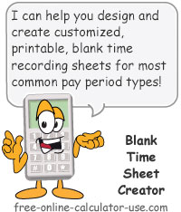 Calcy sign introducing Blank Time Sheet Creator