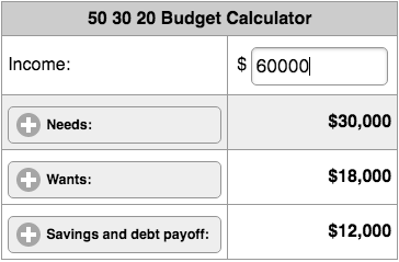 Image of 50 30 20 Budget Calculator.