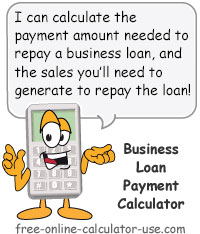 Calcy sign introducing Business Loan Payment Calculator