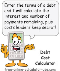 Cost of Debt Calculator Sign