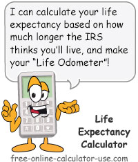 irs le calculator calculate life expectancy and lifetime meter