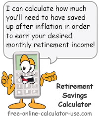 Calcy sign introducing Retirement Income Calculator