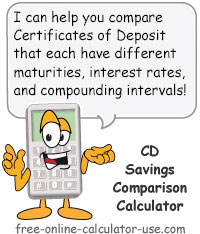 Calcy sign introducing CD Savings Comparison Calculator