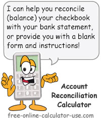 checking account reconciliation calculator to balance checkbook
