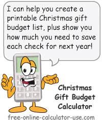 Calcy sign introducing Christmas Budget Calculator