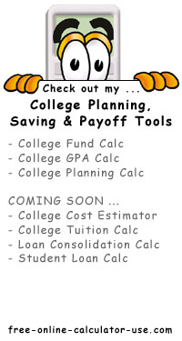 Calcy sign introducing Free Online College Financial Planning Tools