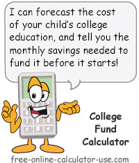 Calcy sign introducing College Fund Calculator