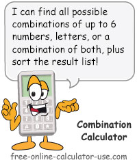Letters And Numbers Combination Calculator
