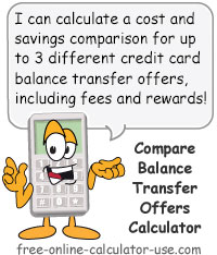 Calcy sign introducing Compare Credit Card Balance Transfer Calculator