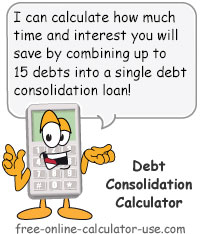 Calcy sign introducing Consolidate Debt Calculator
