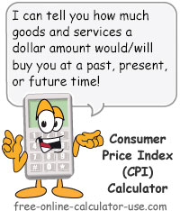 CPI Inflation Calculator Sign
