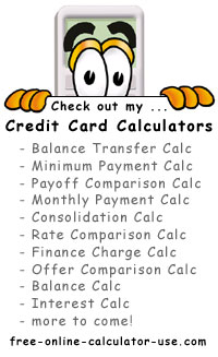 Calcy sign introducing Credit Card Calculators