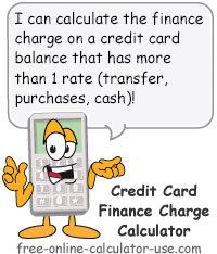 Calcy sign introducing Credit Card Finance Charge Calculator