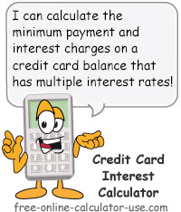 credit card interest calculator for multiple apr balances