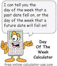 Calcy sign introducing Day of the Week Calculator