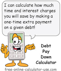 Debt Pay Down Calculator Sign