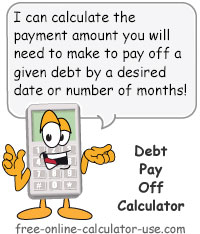 Debt Pay Off Calculator Sign