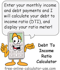 Debt to Income Ratio Calculator Sign