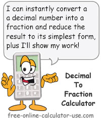 Calcy sign introducing Decimal to Fraction Calculator