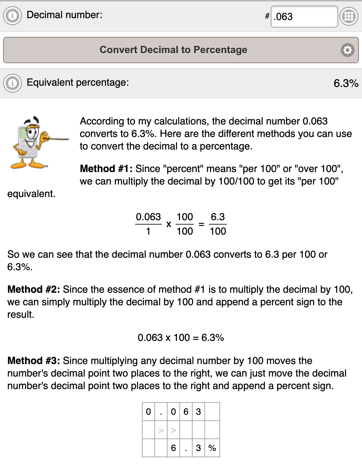 Example result from Decimal to Percent Calculator on free-online-calculator-use.com.
