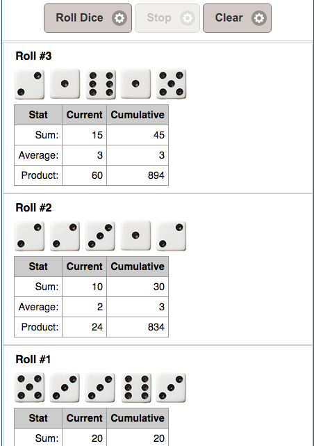 Example results from Dice Roll Simulator.