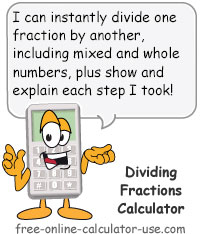 Calcy sign introducing Dividing Fractions Calculator