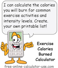 Exercise Calorie Burn Calculator Sign