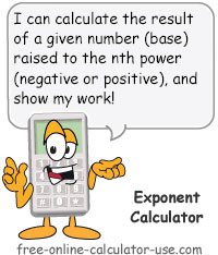 Calcy sign introducting Exponent Calculator