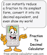 Fraction To Decimal Calculator Sign