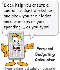 Calcy sign introducing Free Personal Budgeting Calculator