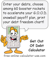 Calcy sign introducing Get Out of Debt Calculator
