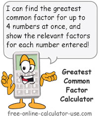 Calcy sign introducing Greatest Common Factor Calculator
