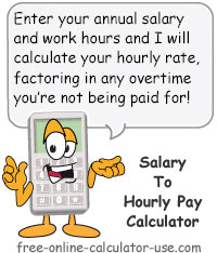 Calcy sign introducing Annual Salary to Hourly Pay Calculator