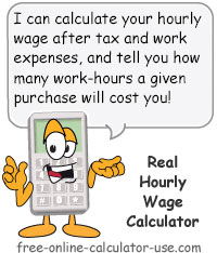 Calcy sign introducing Real Hourly Wage Calculator