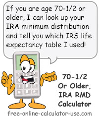 IRA Current RMD Calculator for IRA Owners Age 701\/2 and Older