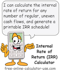 Calcy sign introducing IRR Calculator