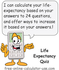 Calcy sign introducing Life Expectancy Quiz