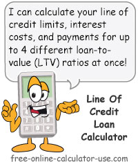 Calcy sign introducing Line of Credit Loan Calculator