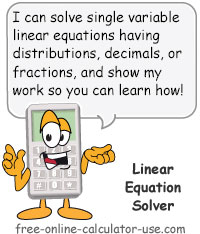 Calcy sign introducing Linear Equation Solver